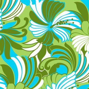 Retro Hawaiian Hibiscus Muu Muu Print- Lime Green
