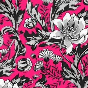 William Morris ~ Acanthus, Tulips, and Marigolds ~  Black and White on Courtesan