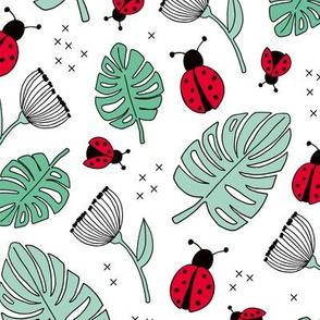 Little love lady bugs summer garden red green mint on white girls