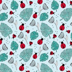 Little love lady bugs summer garden red blue girls SMALL