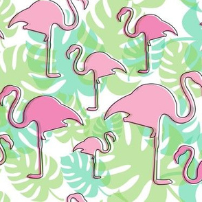 Tropical Pink Flamingos with Summer Foliage
