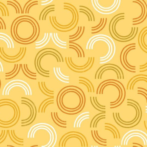 Around in Circles Sunset Gold Geometric by Angel Gerardo