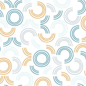 Around in Circles Ocean Geometric White by Angel Gerardo