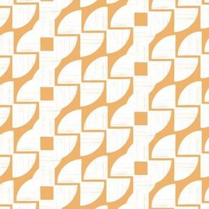 Around in Circles Ocean Orange Geometric Stripe by Angel Gerardo