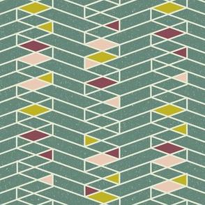 Stacked Lines Modern Minimal Green // abstract minimalist pattern modern lines geometric triangle green plum fabric
