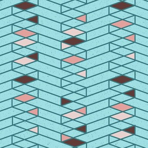 Stacked Lines Modern Minimal Blue // abstract minimalist pattern modern lines geometric triangle blue pink fabric