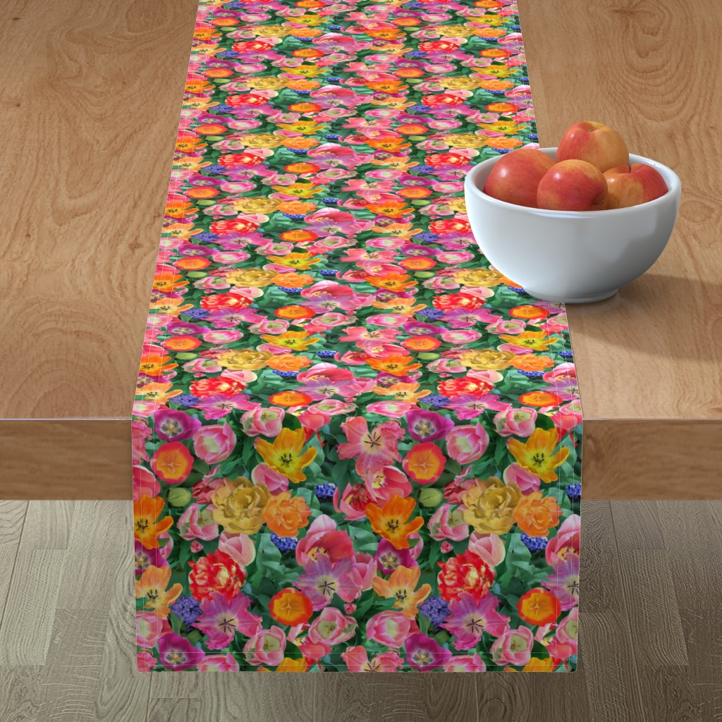 Minorca Table Runner featuring Bird's Eye View of the Flower Bed by teawithxanthe