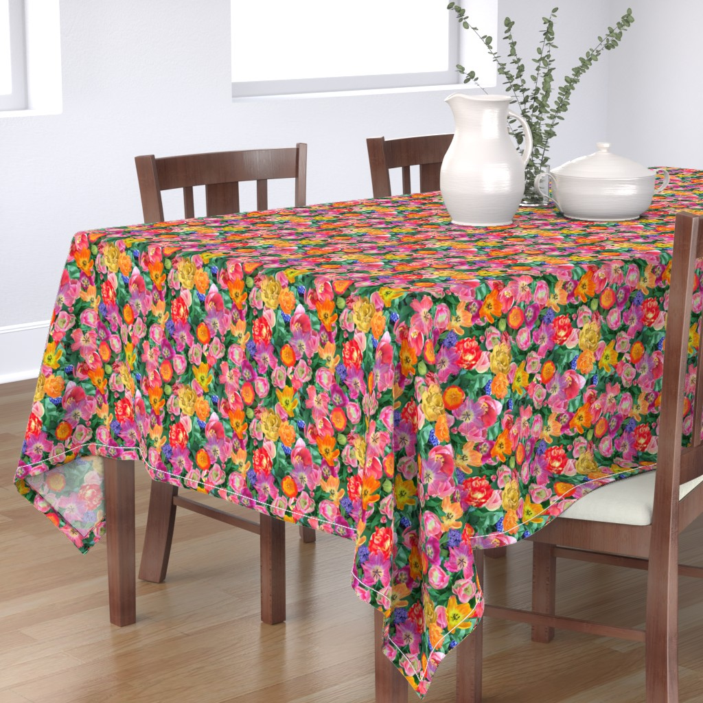 Bantam Rectangular Tablecloth featuring Bird's Eye View of the Flower Bed by teawithxanthe