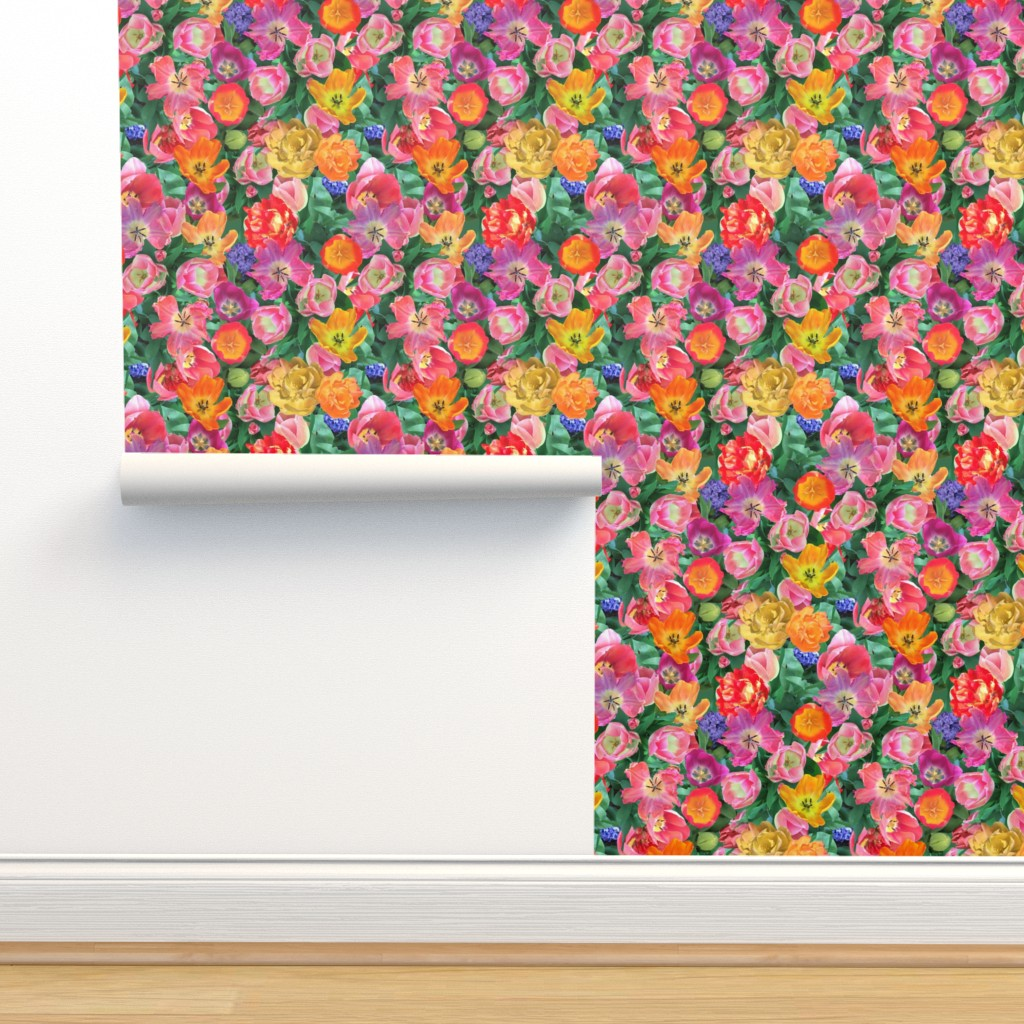 Isobar Durable Wallpaper featuring Bird's Eye View of the Flower Bed by teawithxanthe