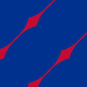 The Red and the Blue: Slim Slant DiamondStripe - Red on Blue