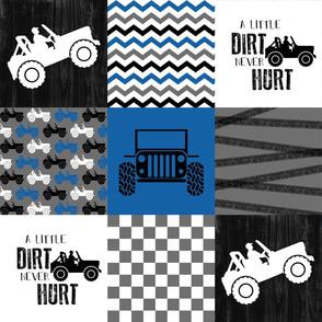 Jeep//A little Dirt Never Hurt//Blue - Wholecloth Cheater Quilt