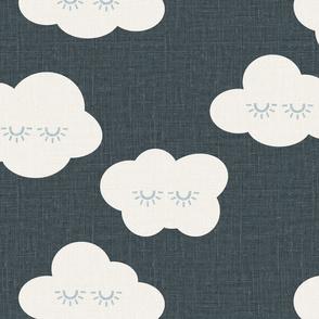 jumbo // sleepy eyes clouds rain clouds kids prints dark denim linen look