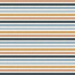 retro stripes blue and mustard yellow slub linen look faux linen blue