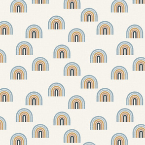Retro Rainbows blue and mustard scattered rainbows rainbow baby retro rainbows