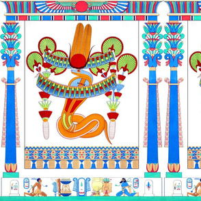 ancient egypt egyptian cobra snakes goddesses Wadjet crowns  scarab beetles wings hieroglyphics lily lilies lotus papyrus columns flowers floral palm trees pillars feathers sun horns trees colorful  orange red green blue green yellow tribal offerings trib