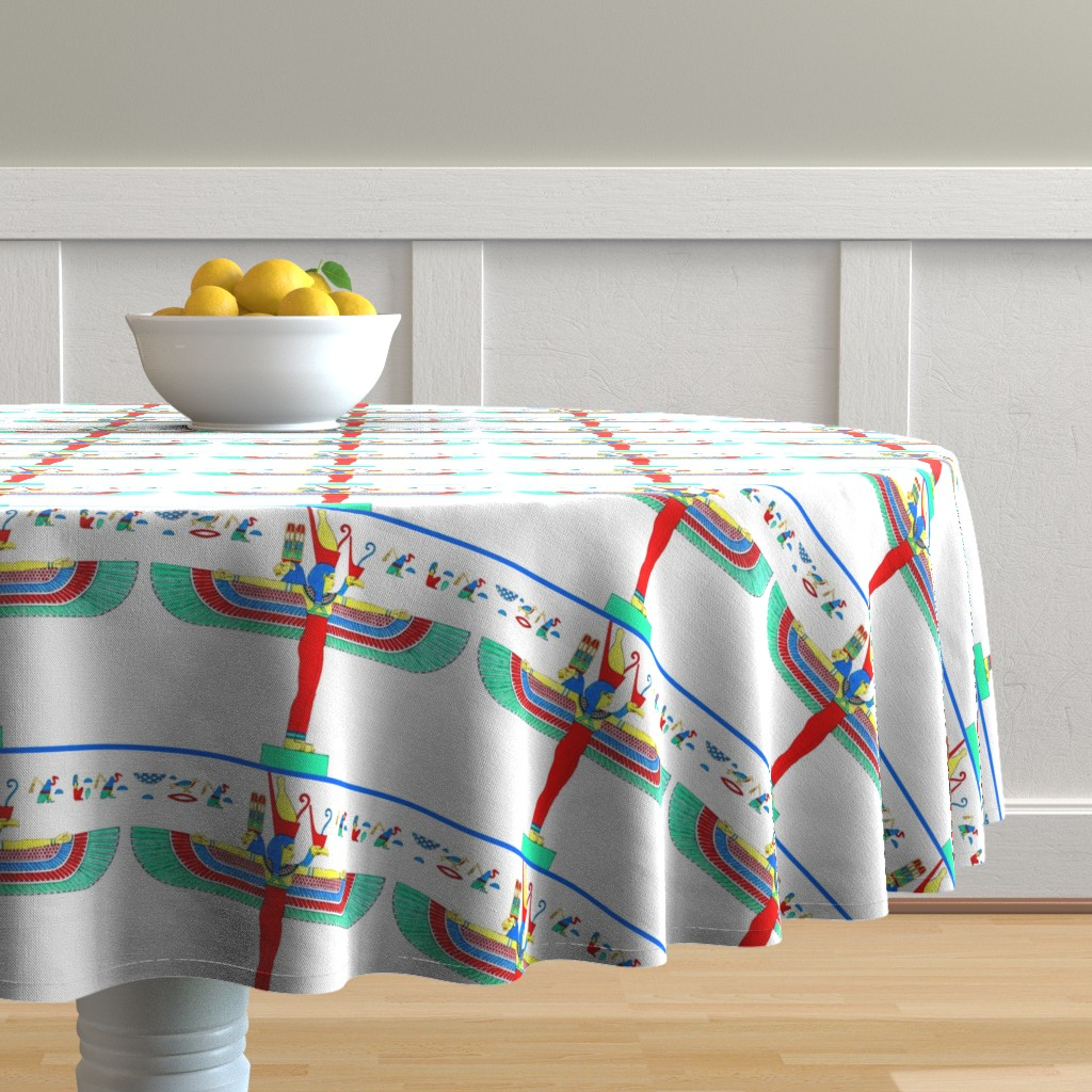 Malay Round Tablecloth featuring ancient egypt egyptian mother Maut Mout goddesses kings hieroglyphics Mut wings birds vultures lion colorful yellow red green blue crowns triple heads tribal  Isis similar  by raveneve