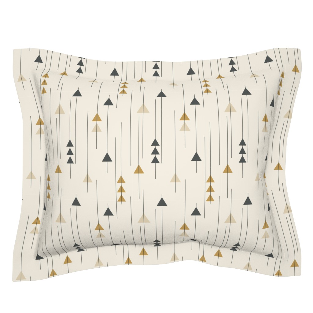 Sebright Pillow Sham featuring Triangle Drops-Neutral by k_hackl