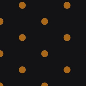 ★ POLKA DOTS ★ Ochre, Black - Large Scale / Collection : Dark Sunshine - Abstract Geometric Prints