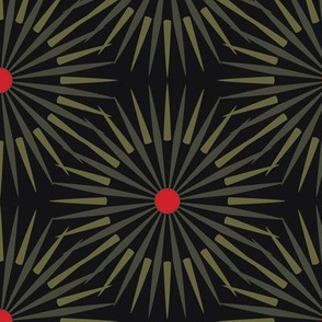 ★ DARK SUNSHINE ★ Olive Green, Red, Black - Large Scale / Collection : Abstract Geometric Prints