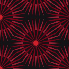 ★ DARK SUNSHINE ★ Burgundy Red, Red, Black - Large Scale / Collection : Abstract Geometric Prints