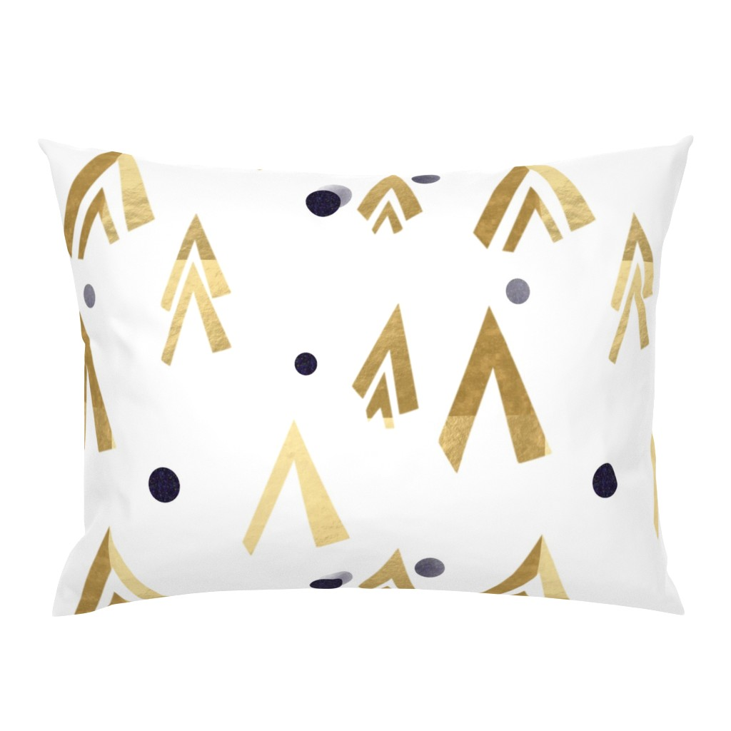 Campine Pillow Sham featuring Golden teepees under the blue moon by stasiajahadi