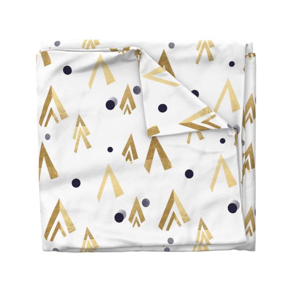 Wyandotte Duvet Cover featuring Golden teepees under the blue moon by stasiajahadi