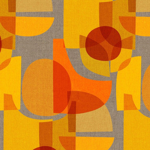 Mid Century Kaleidoscope {Orange Grey}