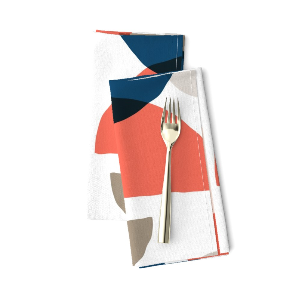 Amarela Dinner Napkins featuring Abstract Minimalist Moons Coral Navy by daniteal