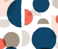 Abstract Minimalist Moons Coral Navy