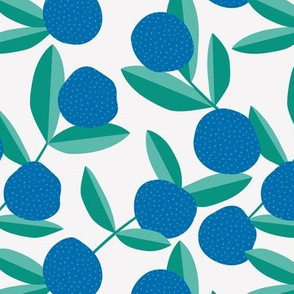 Berry fruit summer garden fruit and leaves botanical branch tropical spring design blue green plum pie