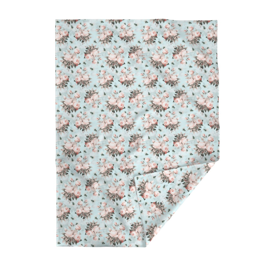 """Lakenvelder Throw Blanket featuring 14""""  Pierre-Joseph Redouté Roses, Victorian Moody Flowers Blush Roses Bouquets,teal by utart"""