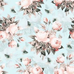 """14""""  Pierre-Joseph Redouté Roses, Victorian Moody Flowers Blush Roses Bouquets,teal"""