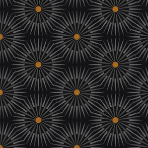 ★ DARK SUNSHINE ★ Gray, Ochre, Black - Small Scale / Collection : Abstract Geometric Prints