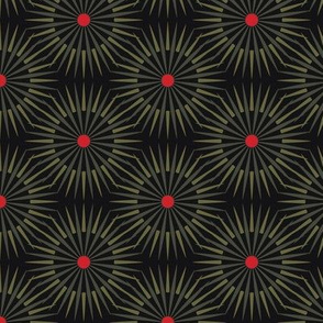 ★ DARK SUNSHINE ★ Olive Green, Red, Black - Small Scale / Collection : Abstract Geometric Prints