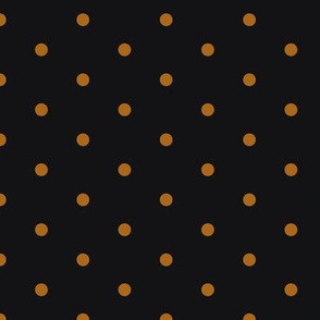 ★ POLKA DOTS ★ Ochre, Black - Small Scale / Collection : Dark Sunshine - Abstract Geometric Prints