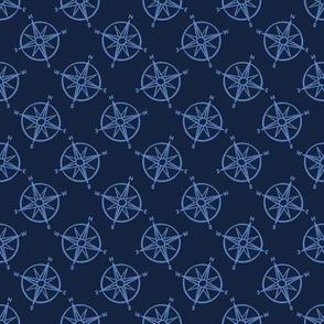 Cute blue maritime compass cartoon seamless pattern.