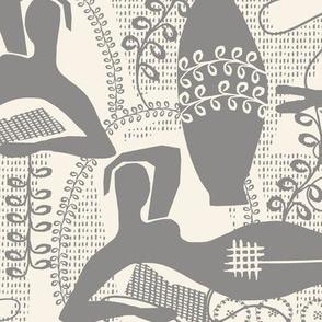 Did Matisse read in the winter? Medium gray and cream toile