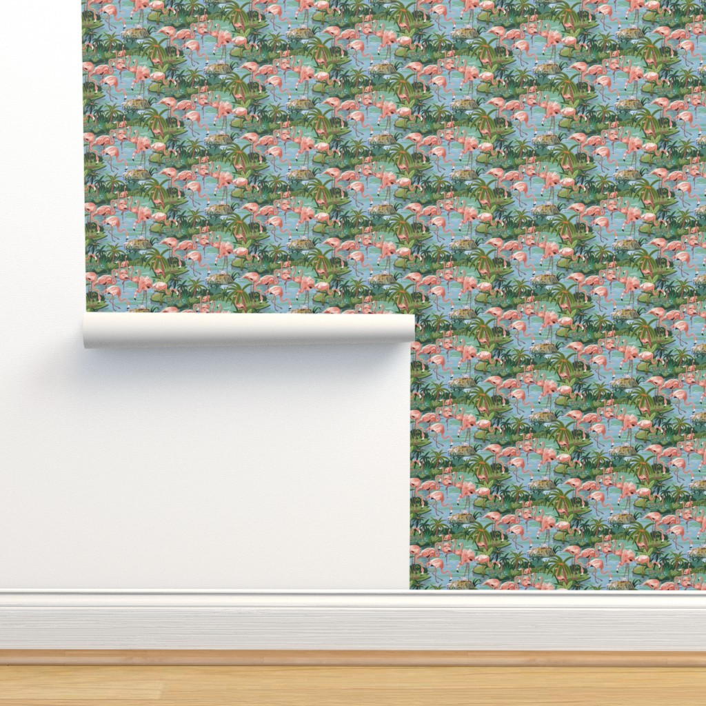 Isobar Durable Wallpaper featuring Flamingo Lagoon 10 inch by vinpauld