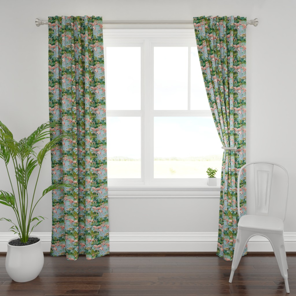 Plymouth Curtain Panel featuring Flamingo Lagoon 10 inch by vinpauld