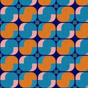 Bold minimalist seventies-orange and teal