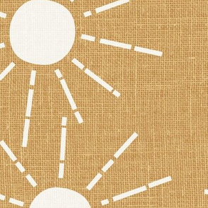jumbo // sunshine scattered suns summer wallpaper fun yellow golden mustard linen look natural linen texture