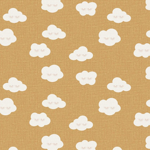 sleepy clouds summer kids prints clouds mustard yellow gold linen look