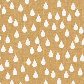 jumbo // scattered rain drops linen look raindrops natural linen golden mustard yellow