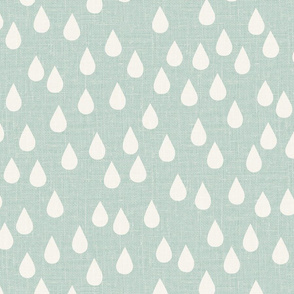 jumbo // rain drops green raindrops natural linen look green