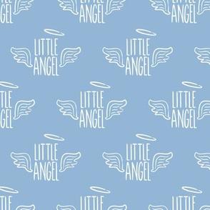 Little Angel - white on blue - LAD19