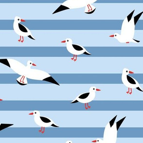 Little Seagull marine sky breton stripes kids ocean print blue