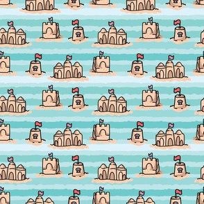 Cute beach sand castles with flag seamless pattern. L226_MAY19_pat_seaml_stock