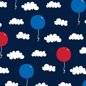 balloons lg red white and royal on navy blue || independence day USA american fourth of july 4th
