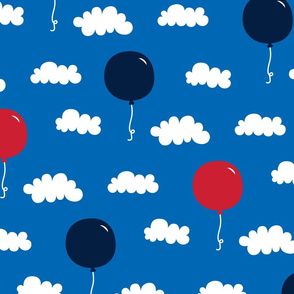 balloons lg red white navy on royal blue || independence day USA american fourth of july 4th