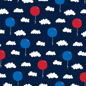 balloons med red white and royal on navy blue || independence day USA american fourth of july 4th